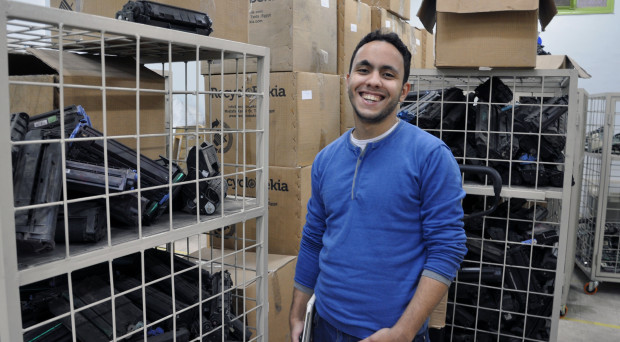 Mostafa Hemdan, the CEO of a firm that recycles electronic waste, learned business basics at a university (Photo by Sarah Lynch).