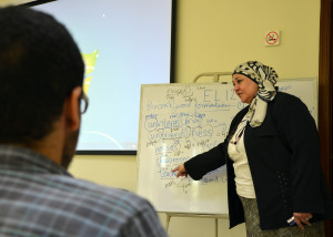 A tutor at the Arab Open University, in Egypt. (Sarah Lynch)