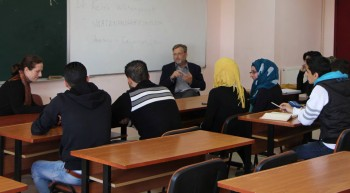 Syrian students at Al Jinan University