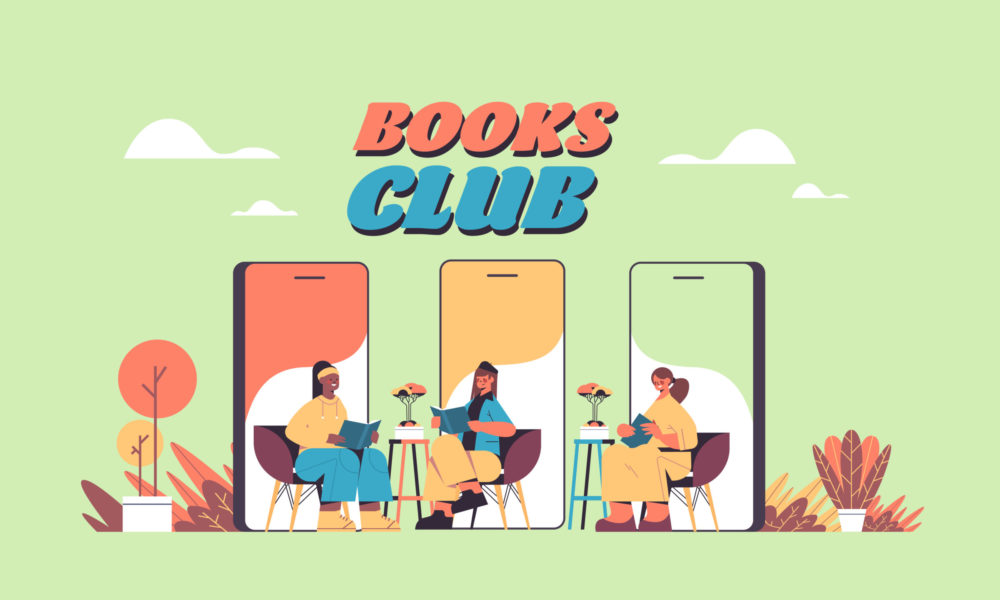 members of online book club meet via video calls